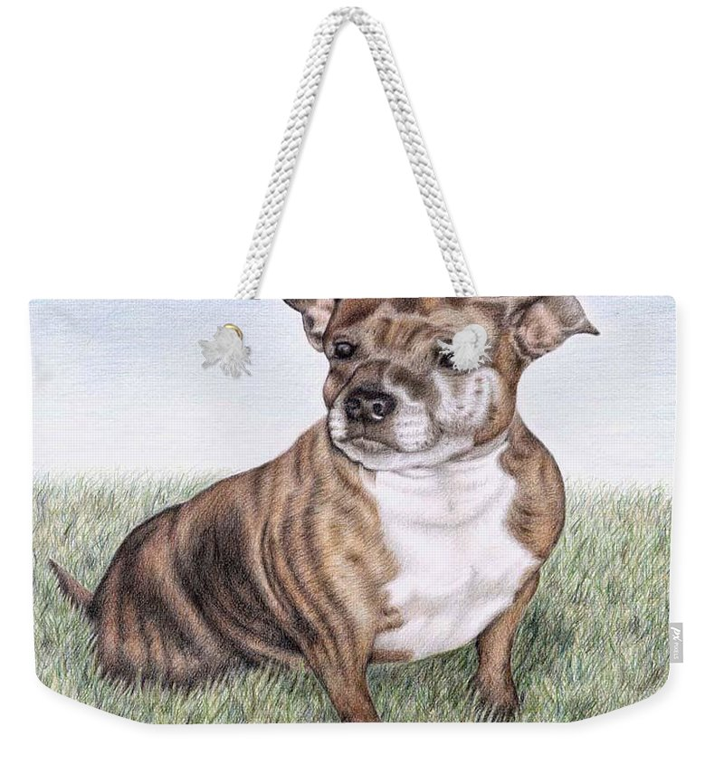 Dog Weekender Tote Bag featuring the drawing English Staffordshire Terrier by Nicole Zeug