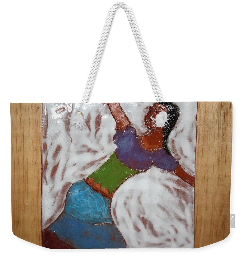Jesus Weekender Tote Bag featuring the ceramic art Enid - Tile by Gloria Ssali