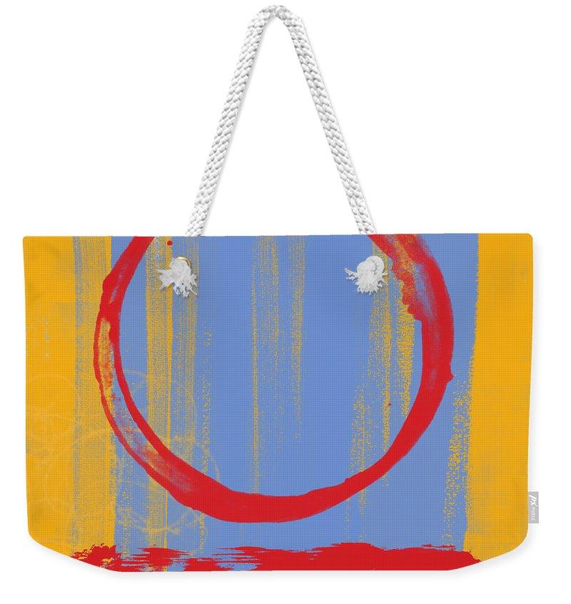 Red Weekender Tote Bag featuring the painting Enso by Julie Niemela
