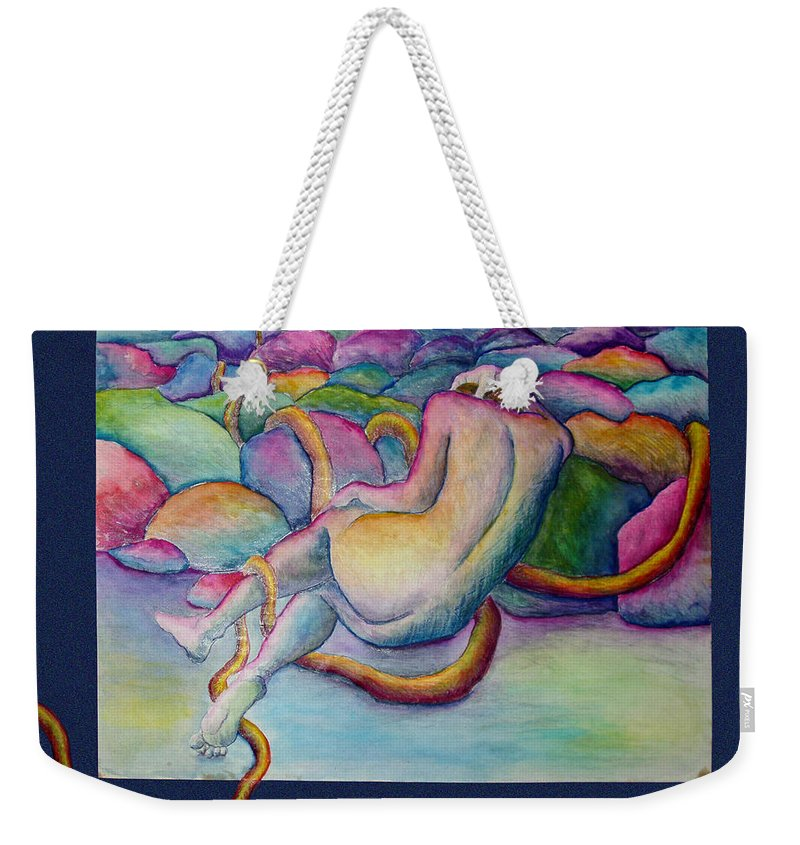Figure Weekender Tote Bag featuring the painting Entangled Figure With Rocks by Nancy Mueller