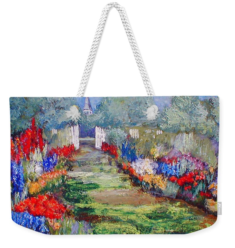 Landscape Weekender Tote Bag featuring the painting Enter His Gates by Gail Kirtz