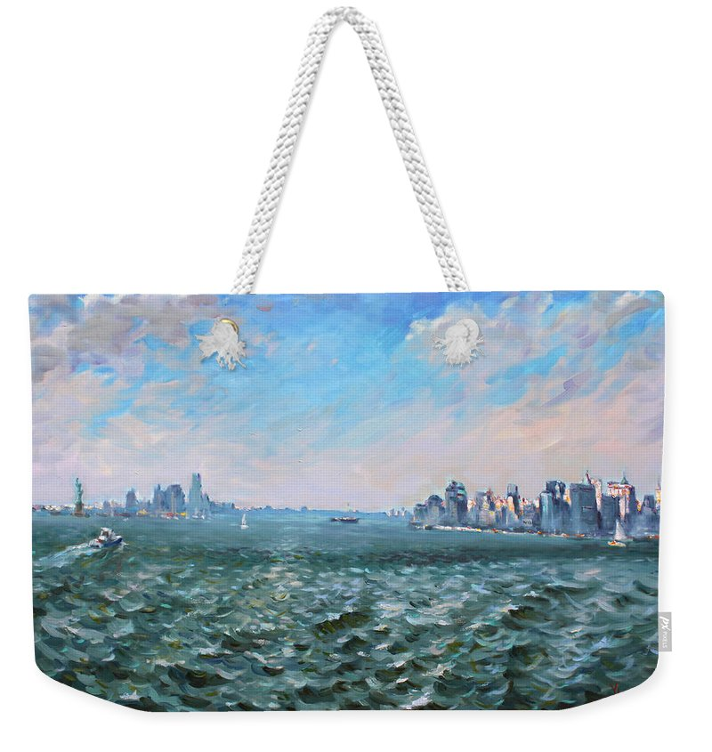 Manhattan Weekender Tote Bag featuring the painting Entering In New York Harbor by Ylli Haruni