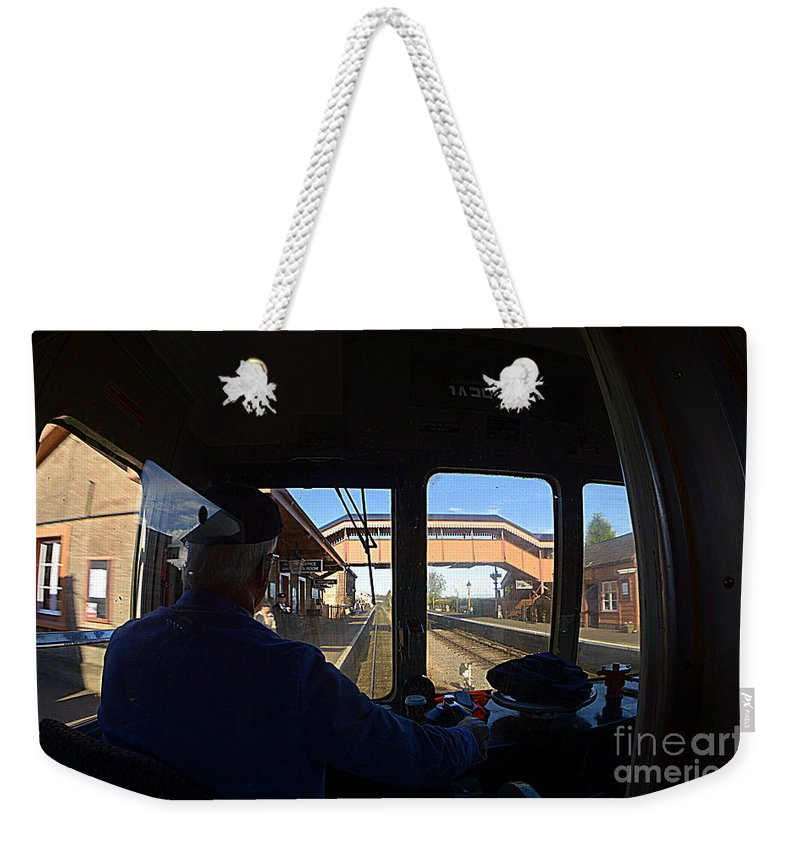 Train Weekender Tote Bag featuring the photograph Entering The Station by Andy Thompson