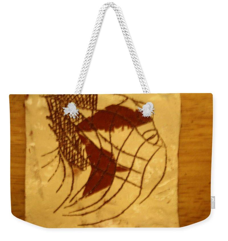 Jesus Weekender Tote Bag featuring the ceramic art Enters - Tile by Gloria Ssali