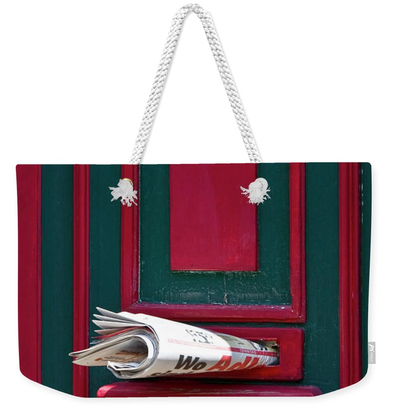 Heiko Weekender Tote Bag featuring the photograph Entrance Door And Newspaper by Heiko Koehrer-Wagner