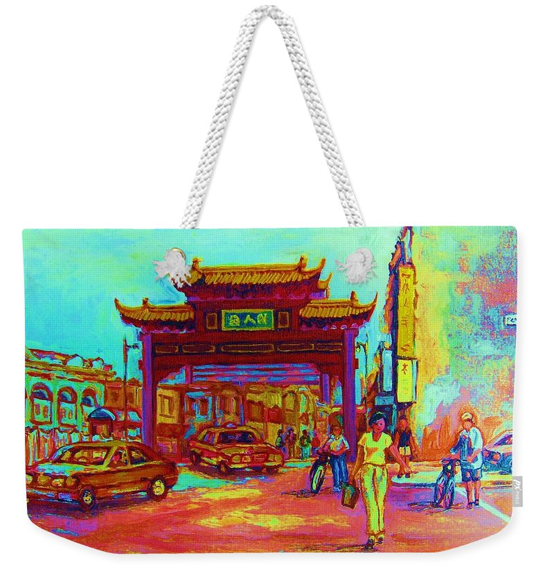 Montreal Weekender Tote Bag featuring the painting Entrance To Chinatown by Carole Spandau