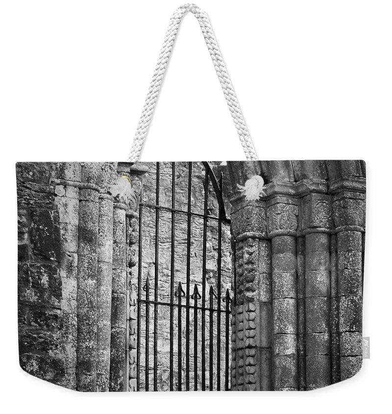 Irish Weekender Tote Bag featuring the photograph Entrance to Cong Abbey Cong Ireland by Teresa Mucha