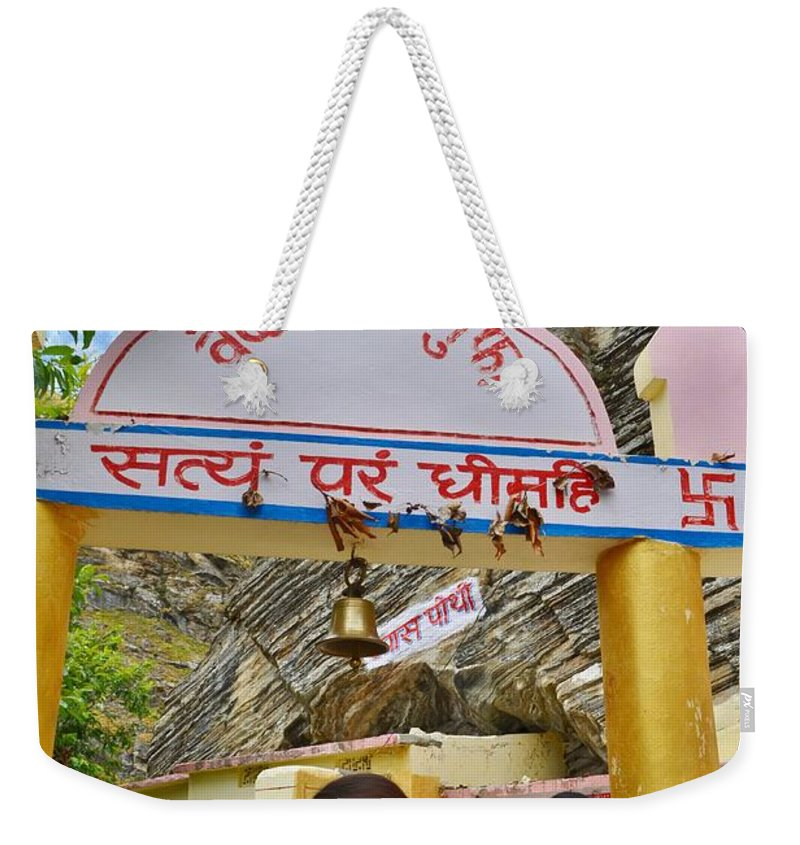 Vyasa Weekender Tote Bag featuring the photograph Entry Gate To Vyasa's Cave - Badrinath India by Kim Bemis