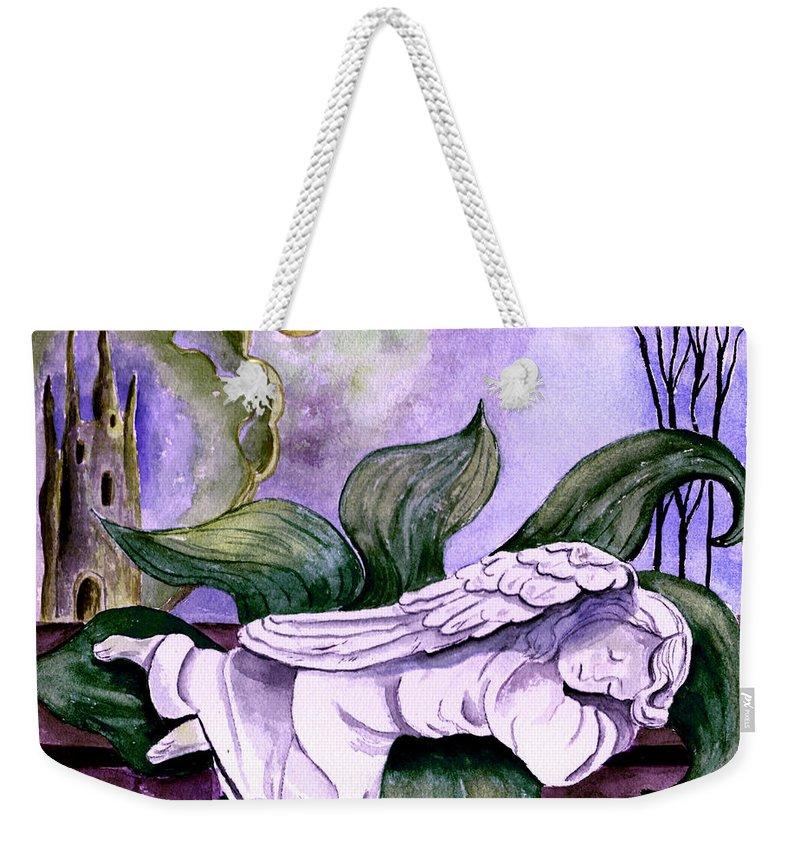 Watercolor Fantasy Angel Sleeping Castle Trees Sun Moon Scenic Scenery Weekender Tote Bag featuring the painting Envisage by Brenda Owen