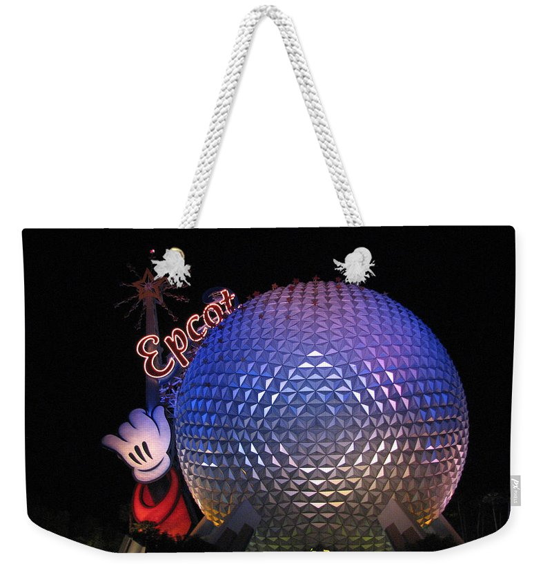 Epcot Weekender Tote Bag featuring the photograph Epcot At Night by Stacey May