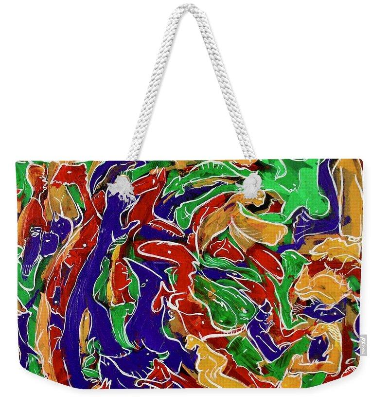 Animals Weekender Tote Bag featuring the painting Epic Genesis II by Rollin Kocsis