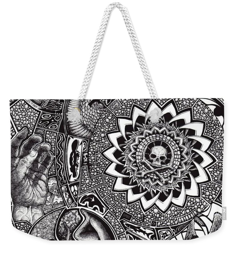 Black And White Weekender Tote Bag featuring the drawing Epiphany by Tobey Anderson