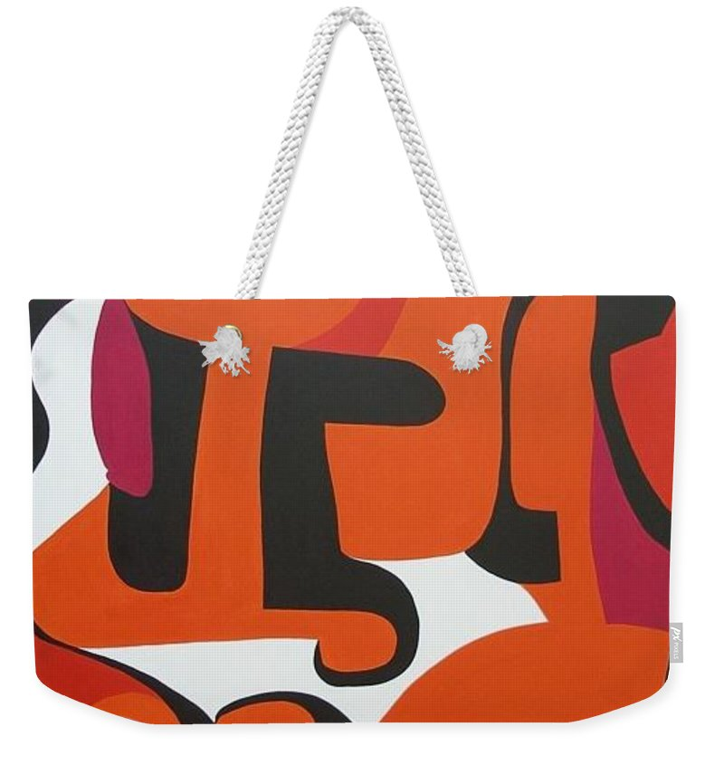 Orange Weekender Tote Bag featuring the painting Epoch by Sue Wright