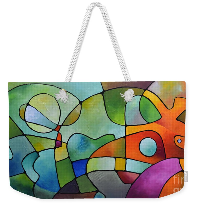 Geometric Weekender Tote Bag featuring the painting Equanimity by Sally Trace
