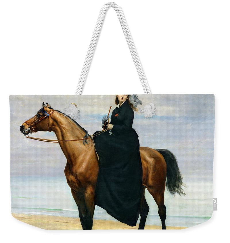 Equestrian Weekender Tote Bag featuring the painting Equestrian Portrait Of Mademoiselle Croizette by Charles Emile Auguste Carolus Duran