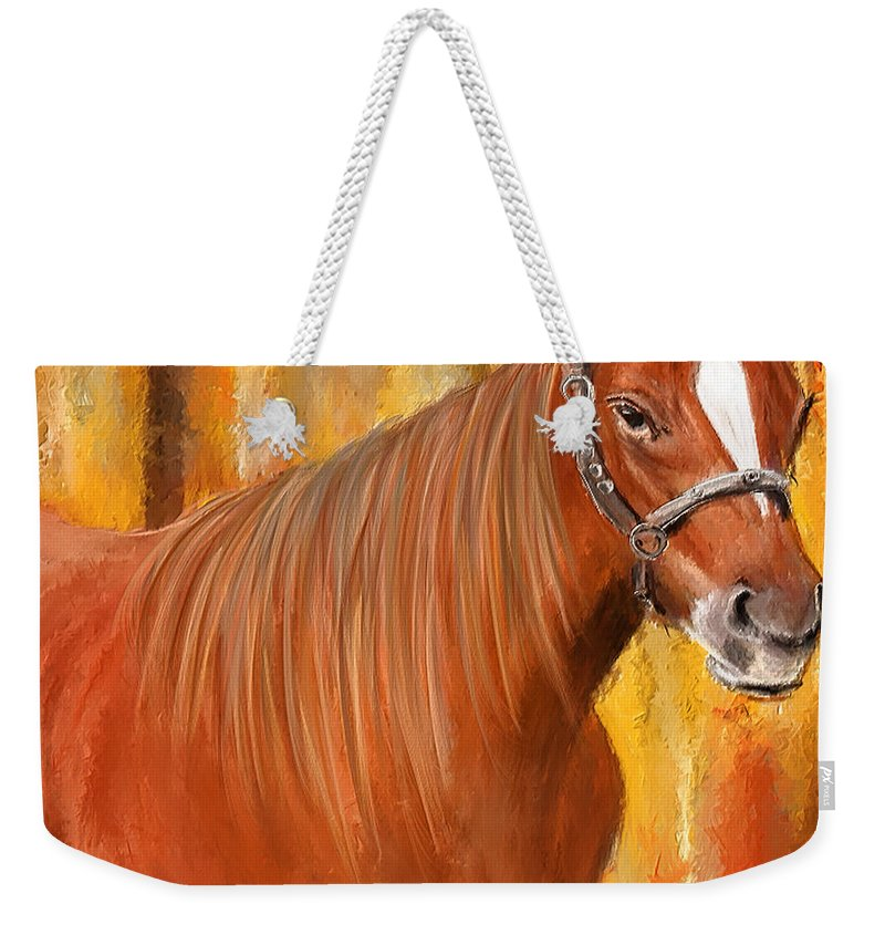 Horse Racing Weekender Tote Bag featuring the painting Equine Prestige - Horse Paintings by Lourry Legarde