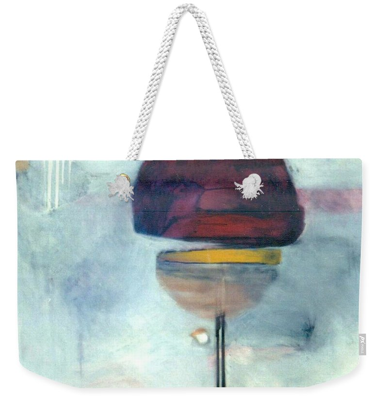 Abstract Weekender Tote Bag featuring the painting Erev Tops Jump Shot by Marlene Burns