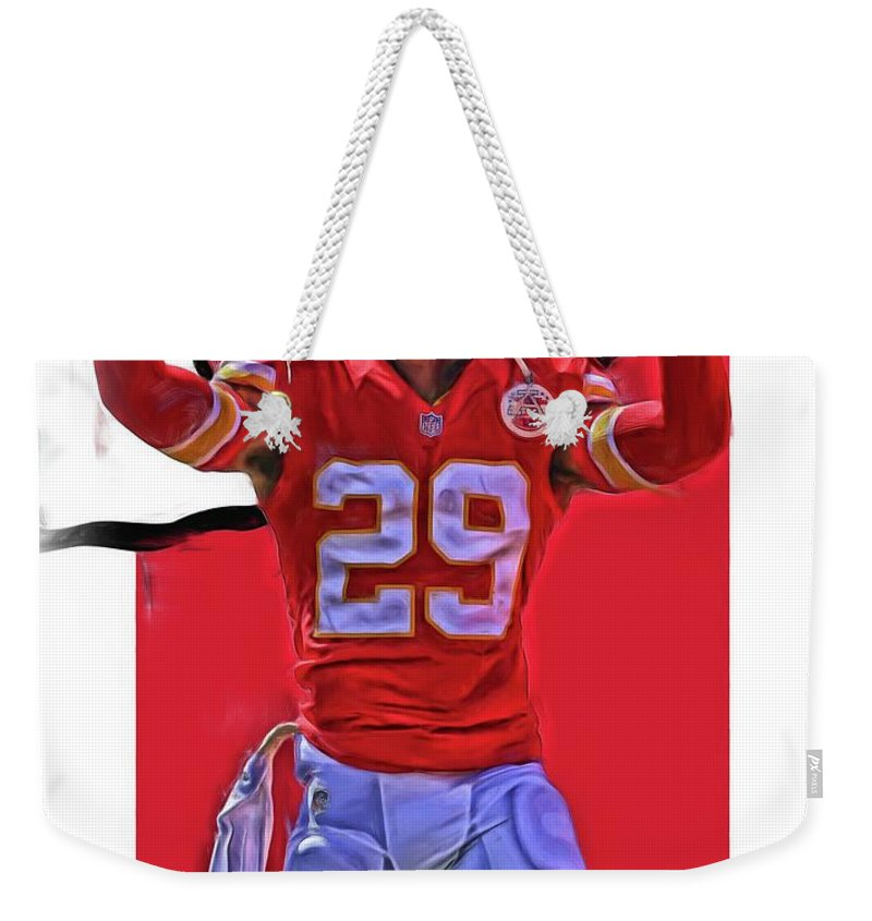 Eric Berry Weekender Tote Bag featuring the mixed media Eric Berry Kansas City Chiefs Oil Art by Joe Hamilton