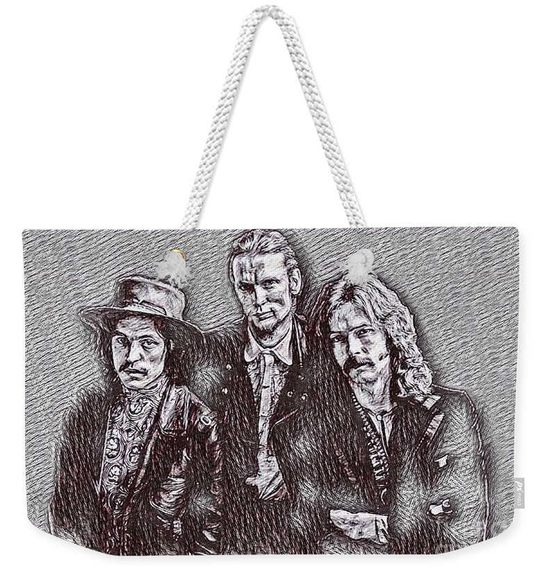 Eric Clapton And Cream Drawing Weekender Tote Bag featuring the drawing Eric Clapton And Cream Drawing by Pd