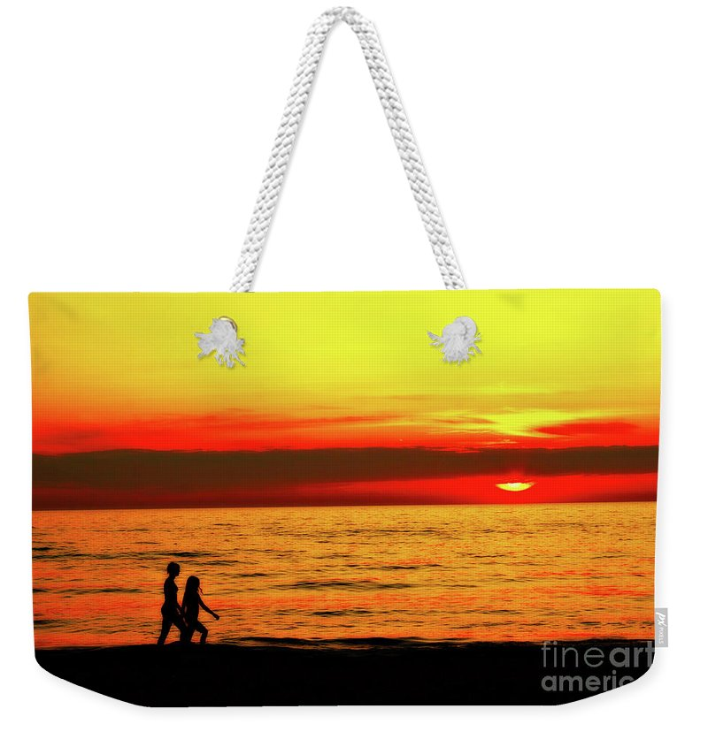Presque Isle Weekender Tote Bag featuring the photograph Erie Beach Sunset by Randy Steele
