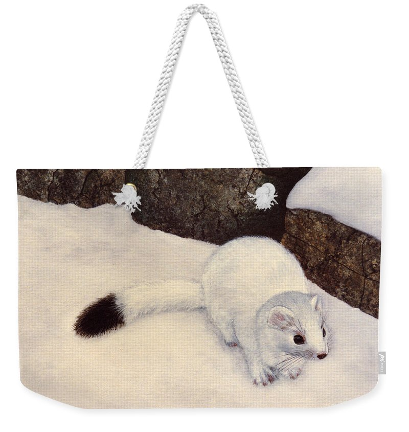 Wildlife Weekender Tote Bag featuring the painting Ermine In Winter by Frank Wilson