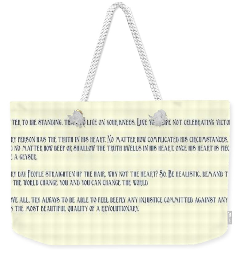 Motivational Weekender Tote Bag featuring the painting Ernesto Che Guevara Speaking 3 by Celestial Images