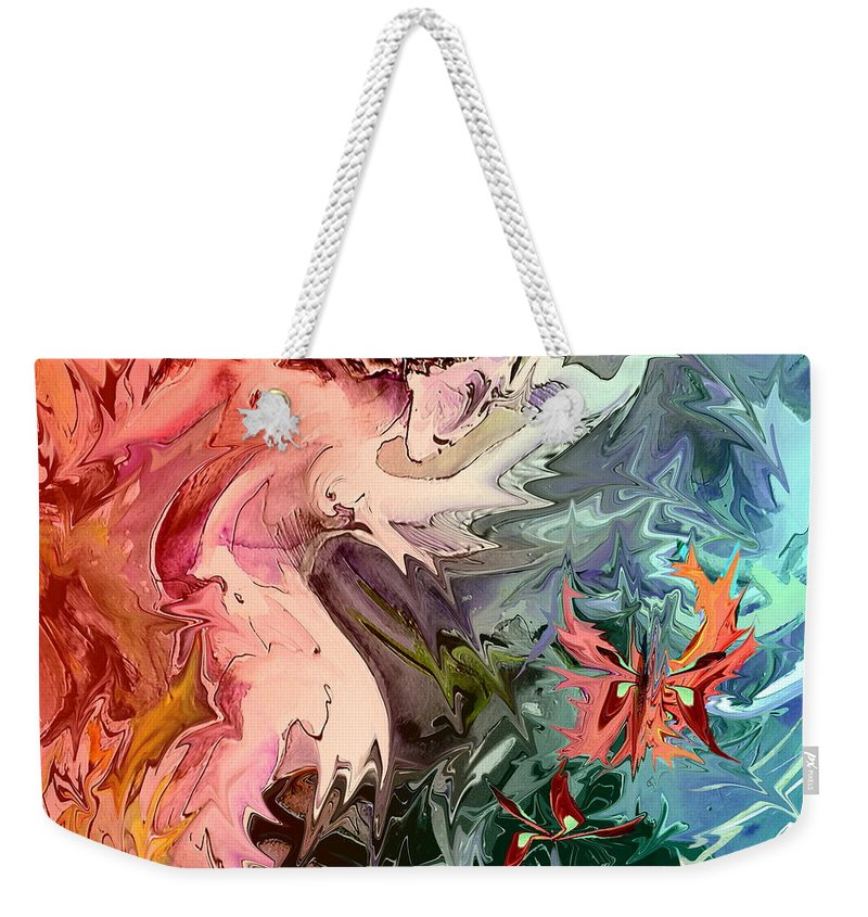 Miki Weekender Tote Bag featuring the painting Eroscape 08 1 by Miki De Goodaboom