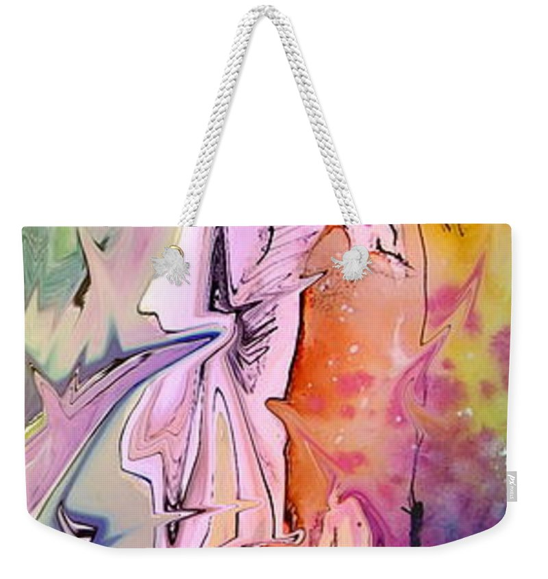 Miki Weekender Tote Bag featuring the painting Eroscape 09 1 by Miki De Goodaboom