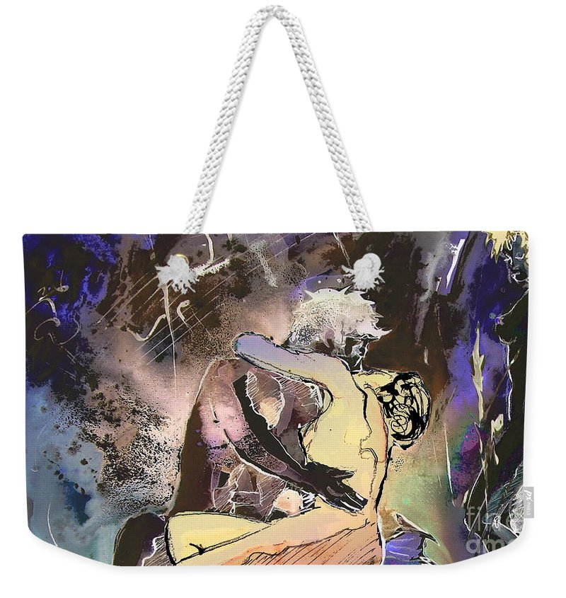 Miki Weekender Tote Bag featuring the painting Eroscape 09 2 by Miki De Goodaboom