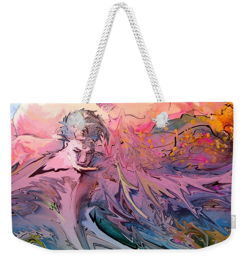 Miki Weekender Tote Bag featuring the painting Eroscape 10 by Miki De Goodaboom