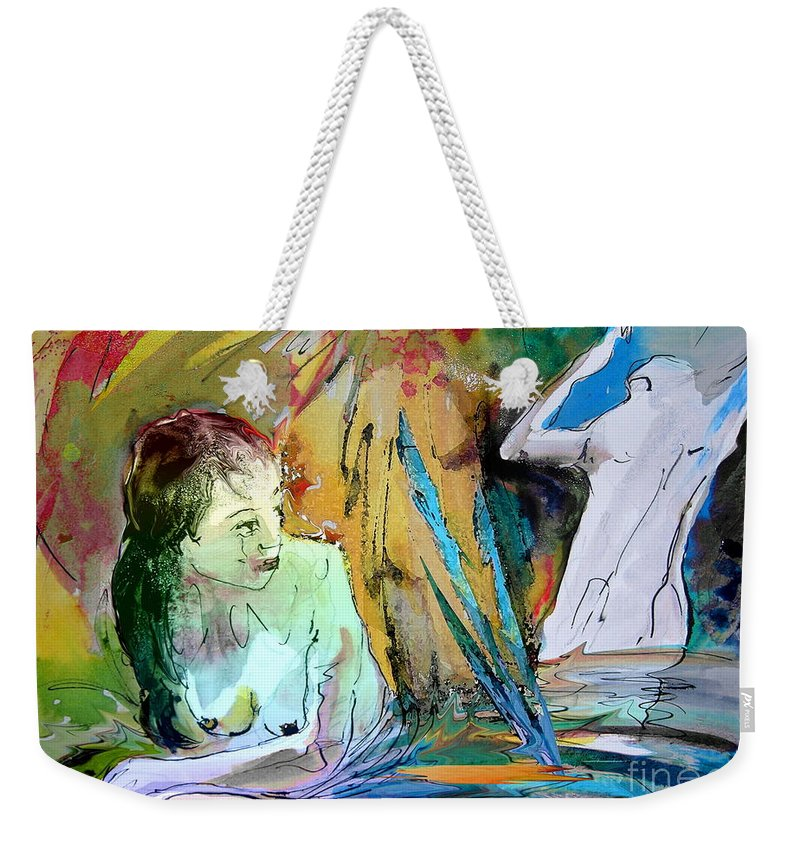 Miki Weekender Tote Bag featuring the painting Eroscape 15 1 by Miki De Goodaboom