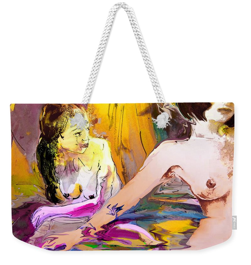 Miki Weekender Tote Bag featuring the painting Eroscape 15 2 by Miki De Goodaboom