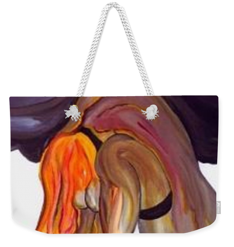 Female Abstract Weekender Tote Bag featuring the painting Erotica - Sold by Artist Rayhart