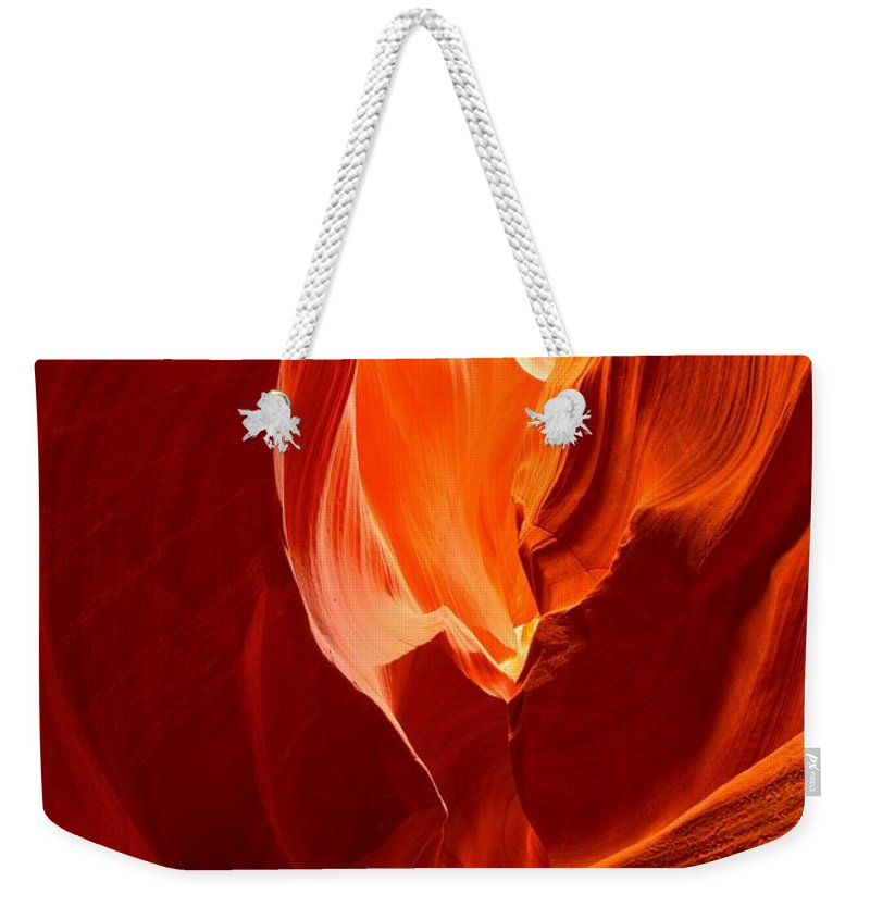 Flames Weekender Tote Bag featuring the photograph Erupting Flames by Adam Jewell