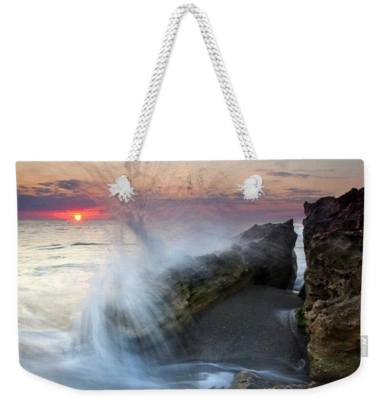 Blowing Rocks Weekender Tote Bag featuring the photograph Eruption At Dawn by Mike Dawson
