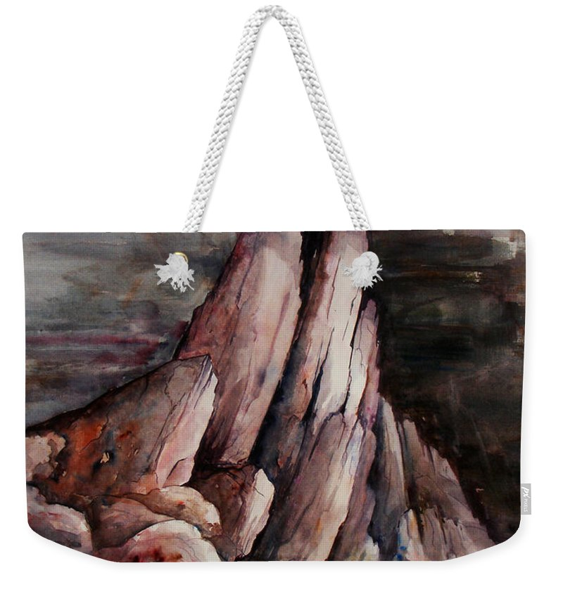 Landscape Weekender Tote Bag featuring the painting Eruption by Rachel Christine Nowicki