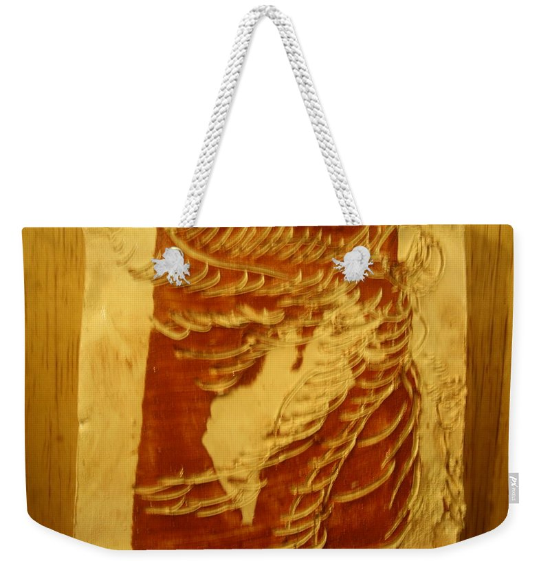 Jesus Weekender Tote Bag featuring the ceramic art Eruptions Of The Mind - Tile by Gloria Ssali