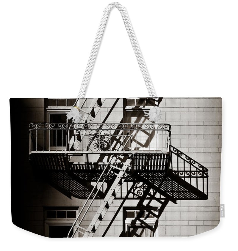 Fire Escape Weekender Tote Bag featuring the photograph Escape by Dave Bowman