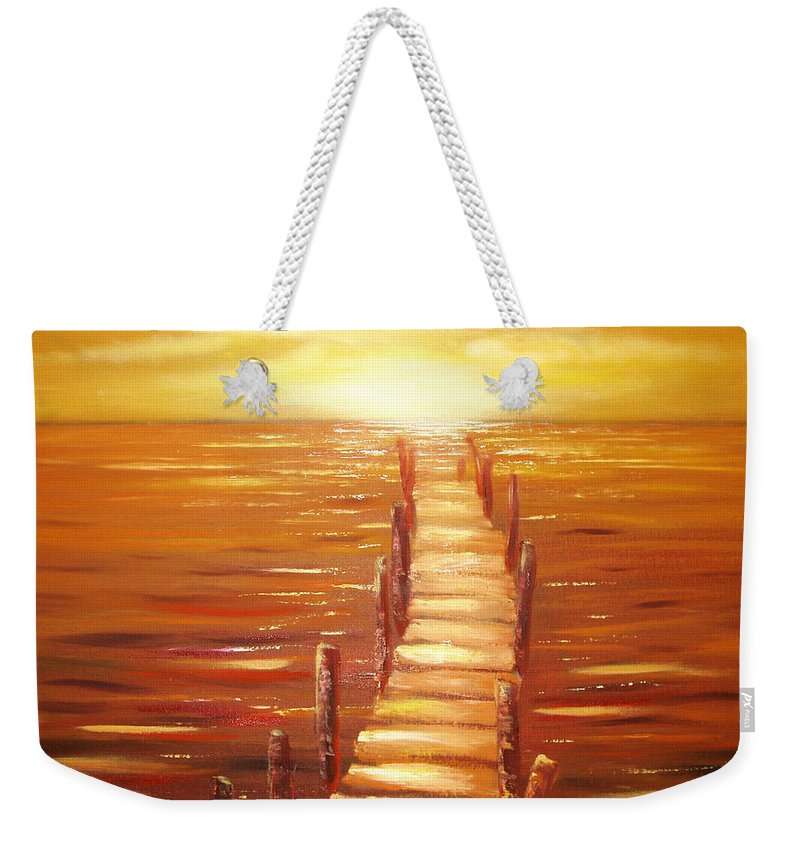 Sunset Original Painting Gold Yellow Red And Orange Colors Art By Gina De Gorna Seascape Weekender Tote Bag featuring the painting Escape by Gina De Gorna