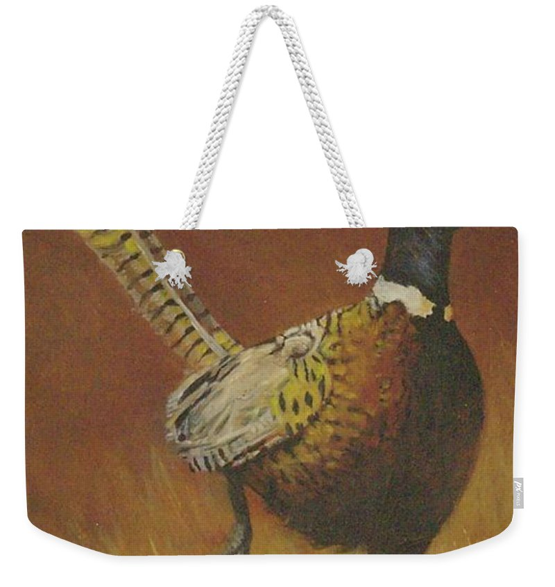 Pheasants Weekender Tote Bag featuring the painting Escape by Mia DeLode