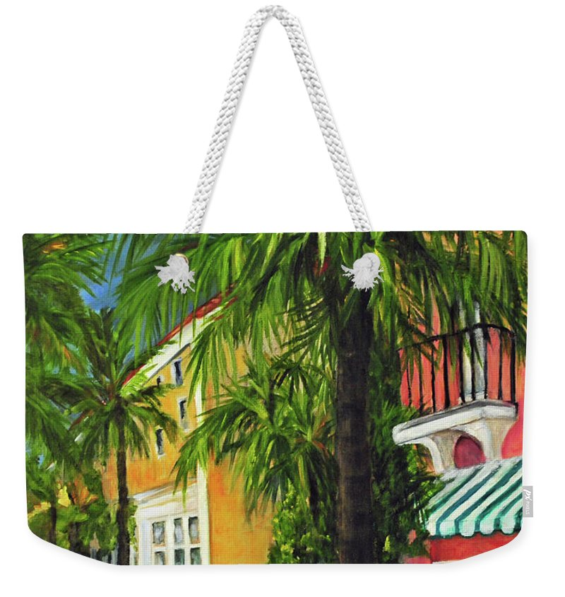 South Weekender Tote Bag featuring the painting Espanola Way In Sobe by Carolyn Shireman
