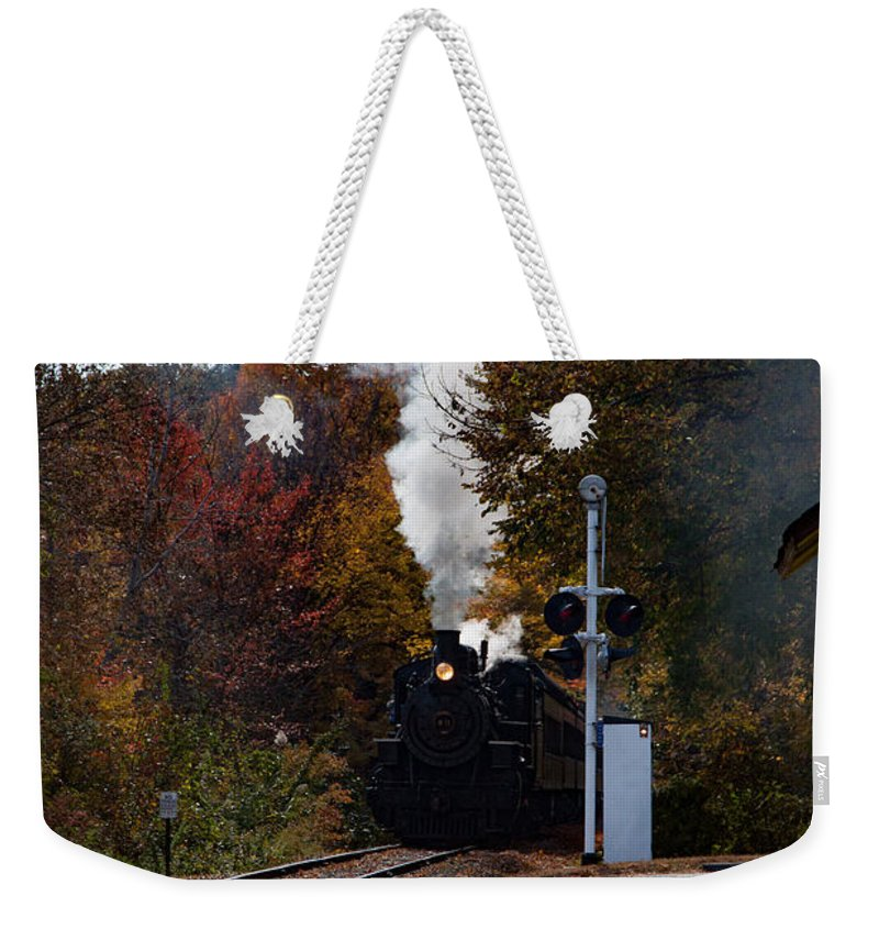 #jefffolger Weekender Tote Bag featuring the photograph Essex Steam Train Coming Into Fall Colors by Jeff Folger