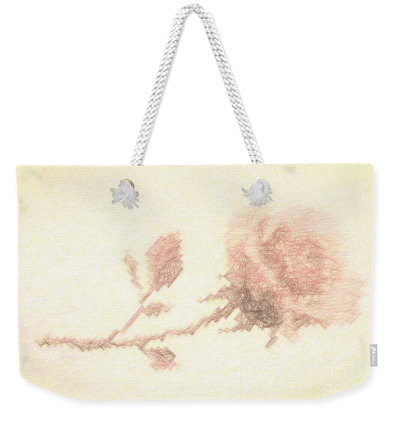 Artistic Weekender Tote Bag featuring the photograph Etched Red Rose by Linda Phelps