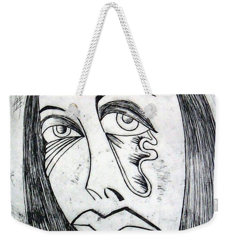 Girl Weekender Tote Bag featuring the print Etching by Thomas Valentine