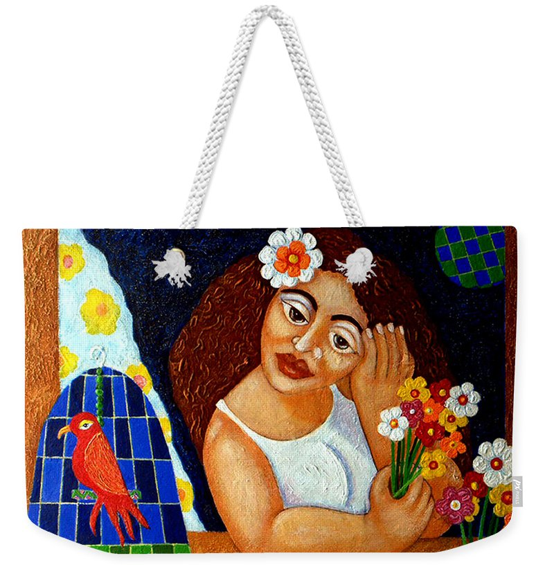 Eve Weekender Tote Bag featuring the painting Eternal Eve - II by Madalena Lobao-Tello