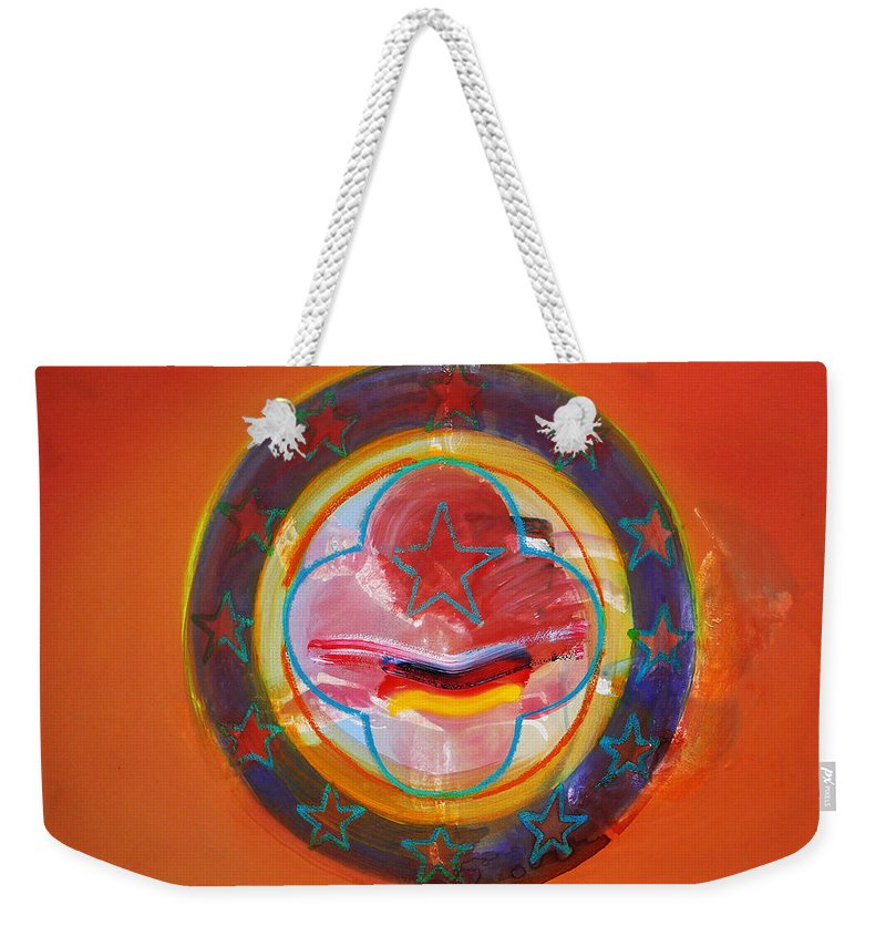 Symbol Weekender Tote Bag featuring the painting Euro Smile by Charles Stuart