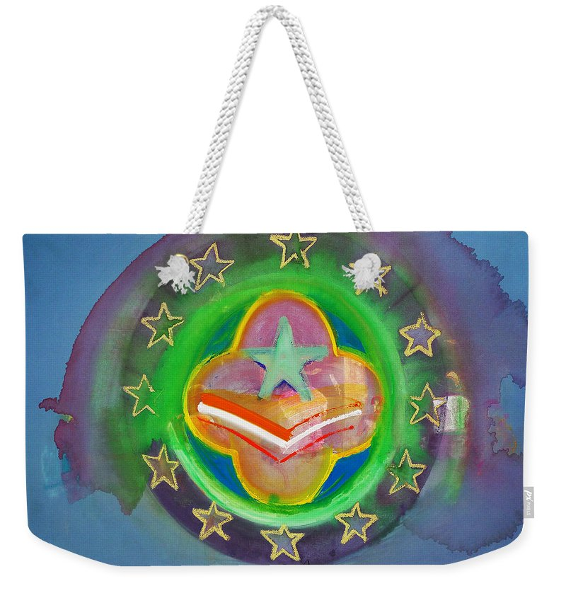 Symbol Weekender Tote Bag featuring the painting Euro Star And Stripes by Charles Stuart