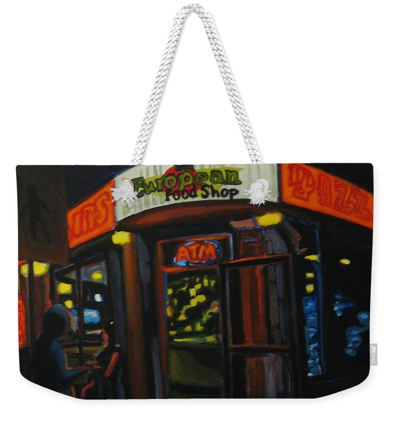 City Weekender Tote Bag featuring the painting European Food Shop by John Malone