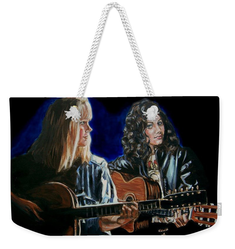 Katie Melua Weekender Tote Bag featuring the painting Eva Cassidy And Katie Melua by Bryan Bustard