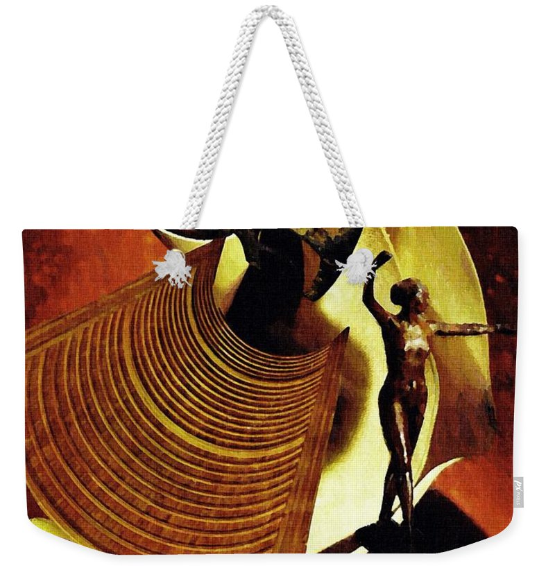 Eve Weekender Tote Bag featuring the mixed media Eve Balanced On A Tightrope by Sarah Loft